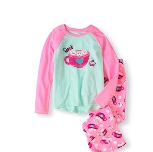 Other - Girl Pink & Mint Cozy Pajama Set Medium 7-8